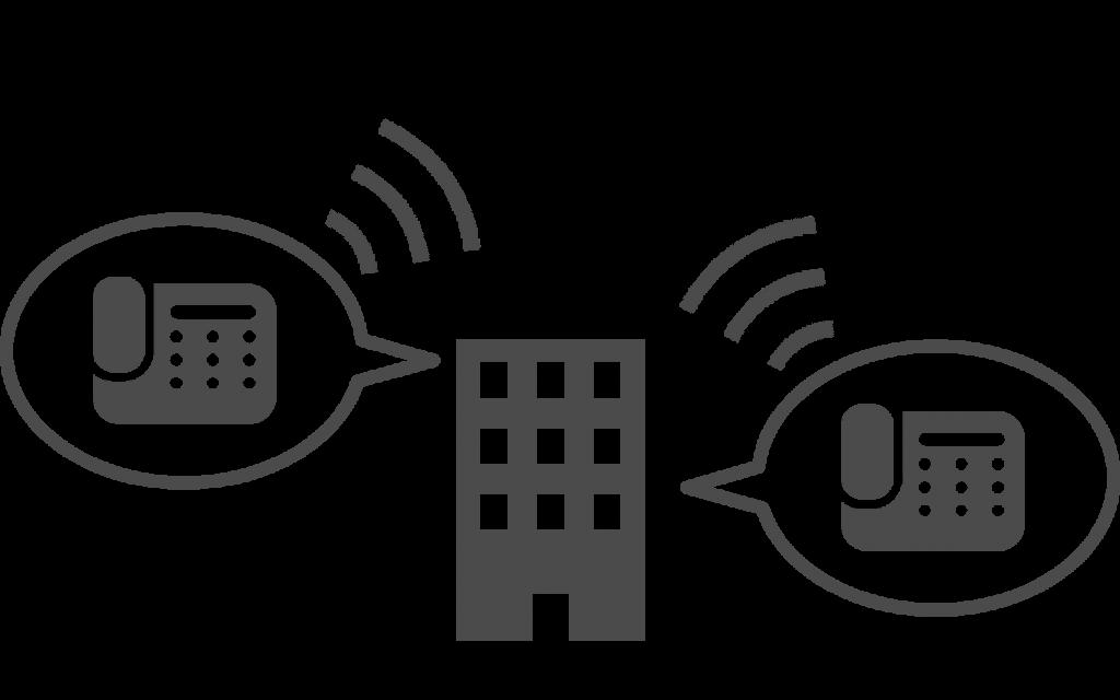 ビジネスフォン用システムを利用した内線通話の例